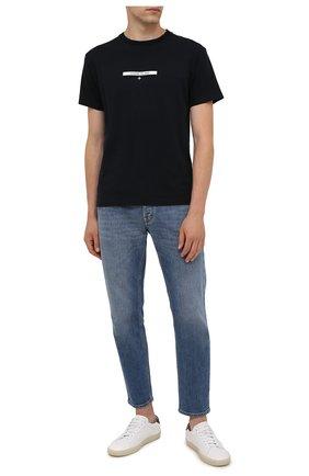 Мужская хлопковая футболка STONE ISLAND темно-синего цвета, арт. 75152NS84 | Фото 2