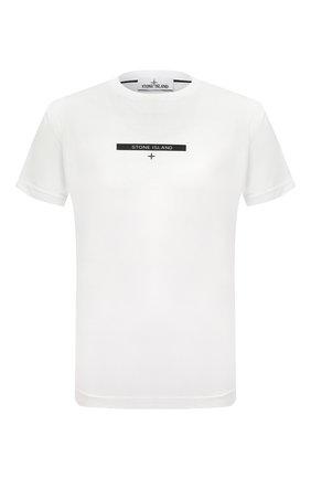 Мужская хлопковая футболка STONE ISLAND белого цвета, арт. 75152NS84 | Фото 1