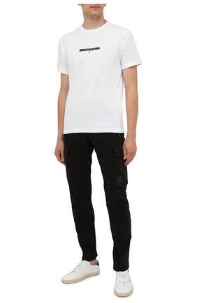 Мужская хлопковая футболка STONE ISLAND белого цвета, арт. 75152NS84 | Фото 2