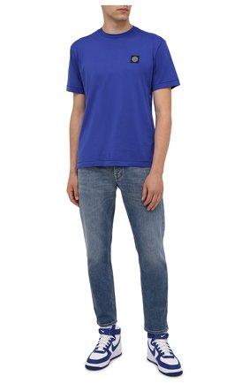 Мужская хлопковая футболка STONE ISLAND синего цвета, арт. 751524113 | Фото 2