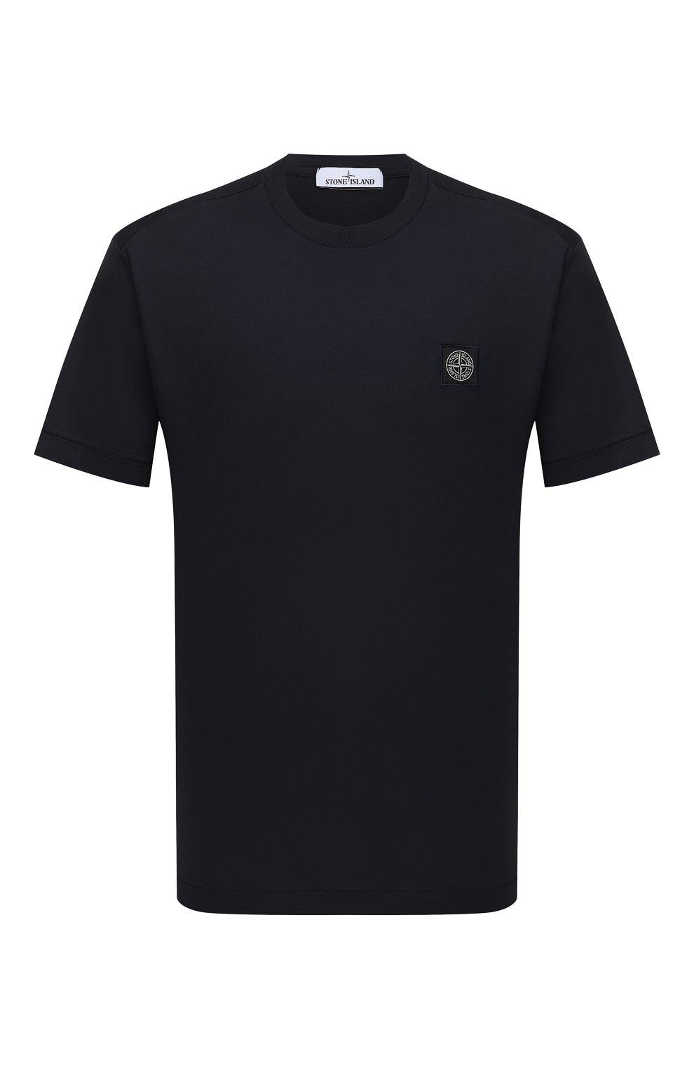 Мужская хлопковая футболка STONE ISLAND черного цвета, арт. 751524113 | Фото 1 (Принт: Без принта; Рукава: Короткие; Длина (для топов): Стандартные; Материал внешний: Хлопок; Стили: Кэжуэл)