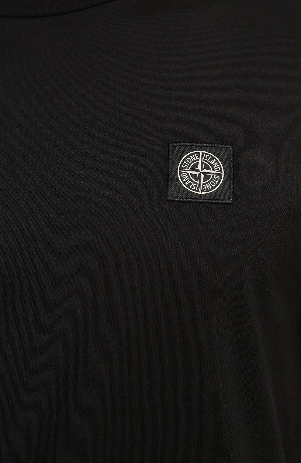 Мужская хлопковая футболка STONE ISLAND черного цвета, арт. 751524113 | Фото 5 (Принт: Без принта; Рукава: Короткие; Длина (для топов): Стандартные; Материал внешний: Хлопок; Стили: Кэжуэл)