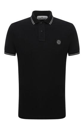 Мужское хлопковое поло STONE ISLAND черного цвета, арт. 751522S18 | Фото 1