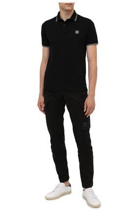 Мужское хлопковое поло STONE ISLAND черного цвета, арт. 751522S18 | Фото 2