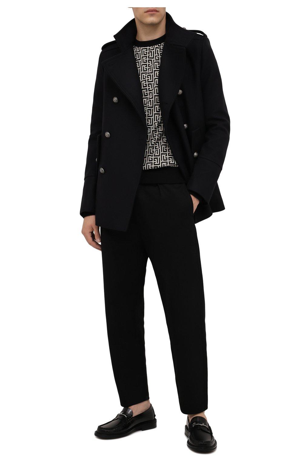 Мужской шерстяной бушлат BALMAIN темно-синего цвета, арт. WH1UC030/W115   Фото 2 (Материал внешний: Шерсть; Рукава: Длинные; Материал подклада: Синтетический материал; Длина (верхняя одежда): Короткие; Мужское Кросс-КТ: пальто-верхняя одежда; Стили: Кэжуэл)