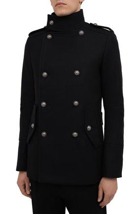 Мужской шерстяной бушлат BALMAIN темно-синего цвета, арт. WH1UC030/W115   Фото 3 (Материал внешний: Шерсть; Рукава: Длинные; Материал подклада: Синтетический материал; Длина (верхняя одежда): Короткие; Мужское Кросс-КТ: пальто-верхняя одежда; Стили: Кэжуэл)