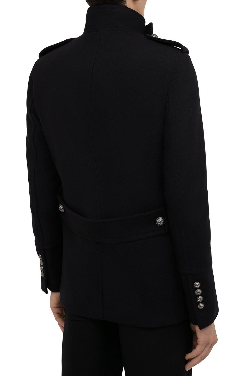 Мужской шерстяной бушлат BALMAIN темно-синего цвета, арт. WH1UC030/W115   Фото 4 (Материал внешний: Шерсть; Рукава: Длинные; Материал подклада: Синтетический материал; Длина (верхняя одежда): Короткие; Мужское Кросс-КТ: пальто-верхняя одежда; Стили: Кэжуэл)