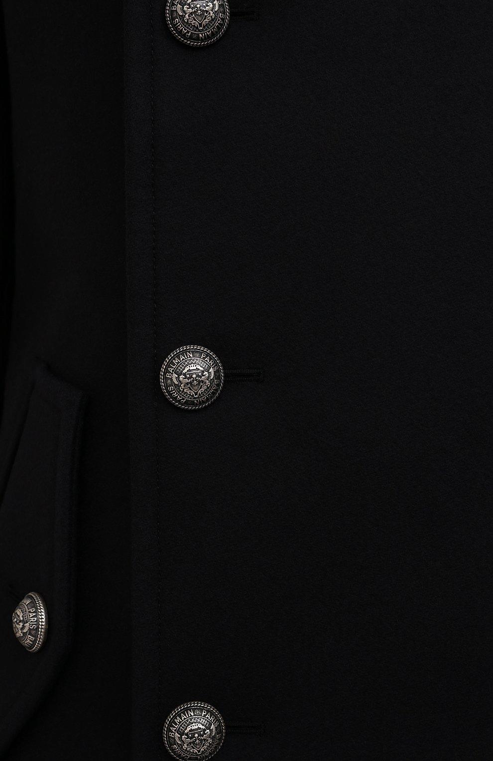 Мужской шерстяной бушлат BALMAIN темно-синего цвета, арт. WH1UC030/W115   Фото 5 (Материал внешний: Шерсть; Рукава: Длинные; Материал подклада: Синтетический материал; Длина (верхняя одежда): Короткие; Мужское Кросс-КТ: пальто-верхняя одежда; Стили: Кэжуэл)