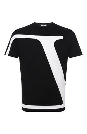Мужская хлопковая футболка VALENTINO черного цвета, арт. WV3MG10V7LR | Фото 1 (Длина (для топов): Стандартные; Материал внешний: Хлопок; Рукава: Короткие; Стили: Кэжуэл; Принт: С принтом)