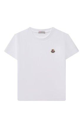 Детская хлопковая футболка MONCLER белого цвета, арт. G2-954-8C746-00-83092/8-10A | Фото 1