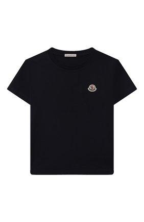Детская хлопковая футболка MONCLER темно-синего цвета, арт. G2-954-8C746-00-83092/12-14A | Фото 1