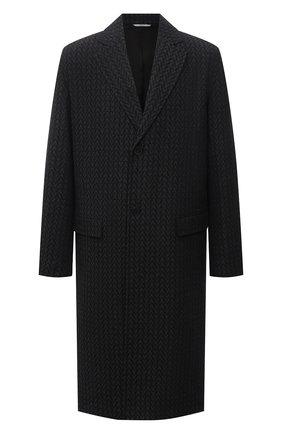 Мужской шерстяное пальто VALENTINO темно-серого цвета, арт. WV3CAD857GY | Фото 1 (Материал подклада: Купро; Длина (верхняя одежда): До колена; Материал внешний: Шерсть; Рукава: Длинные; Мужское Кросс-КТ: пальто-верхняя одежда; Стили: Кэжуэл)