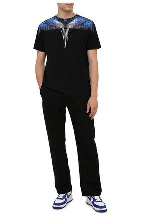 Мужская хлопковая футболка MARCELO BURLON черного цвета, арт. CMAA018F21JER001 | Фото 2 (Рукава: Короткие; Материал внешний: Хлопок; Длина (для топов): Стандартные; Стили: Кэжуэл; Принт: С принтом)