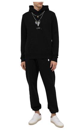 Мужской хлопковое худи MARCELO BURLON черного цвета, арт. CMBB007F21FLE008 | Фото 2 (Рукава: Длинные; Материал внешний: Хлопок; Длина (для топов): Стандартные; Мужское Кросс-КТ: Худи-одежда; Стили: Кэжуэл; Принт: С принтом)