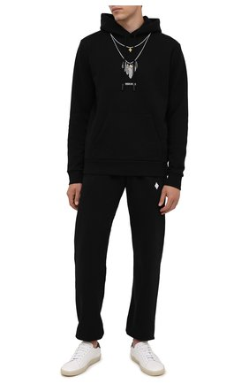 Мужские хлопковые джоггеры MARCELO BURLON черного цвета, арт. CMCH024F21FLE001 | Фото 2 (Длина (брюки, джинсы): Стандартные; Материал внешний: Хлопок; Мужское Кросс-КТ: Брюки-трикотаж; Силуэт М (брюки): Джоггеры; Кросс-КТ: Спорт; Стили: Спорт-шик)