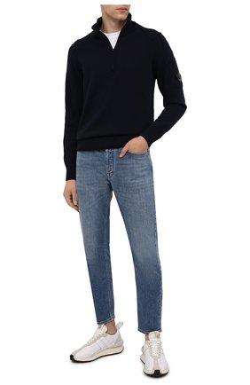 Мужской шерстяной свитер C.P. COMPANY темно-синего цвета, арт. 11CMKN089A-005504A | Фото 2 (Материал внешний: Шерсть; Рукава: Длинные; Длина (для топов): Стандартные; Принт: Без принта; Стили: Кэжуэл; Мужское Кросс-КТ: Свитер-одежда)