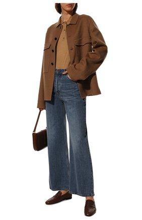 Женское поло из шерсти и шелка BURBERRY бежевого цвета, арт. 8043515 | Фото 2