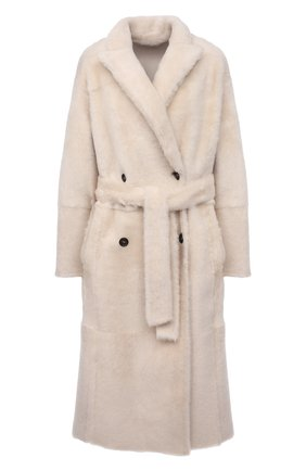 Женская шуба из овчины BRUNELLO CUCINELLI кремвого цвета, арт. MPMRA9686 | Фото 1 (Рукава: Длинные; Материал внешний: Натуральный мех; Стили: Кэжуэл; Длина (верхняя одежда): Длинные)