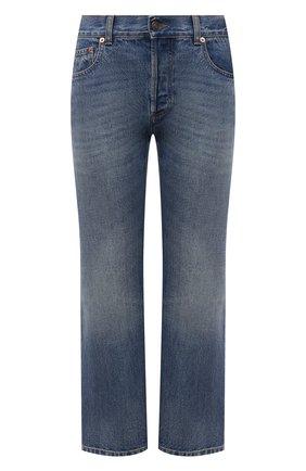 Женские джинсы GUCCI синего цвета, арт. 628919/XDB0J | Фото 1 (Длина (брюки, джинсы): Стандартные; Материал внешний: Хлопок; Силуэт Ж (брюки и джинсы): Расклешенные; Стили: Кэжуэл; Кросс-КТ: Деним; Детали: Потертости)