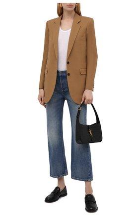 Женские джинсы GUCCI синего цвета, арт. 628919/XDB0J | Фото 2 (Длина (брюки, джинсы): Стандартные; Материал внешний: Хлопок; Силуэт Ж (брюки и джинсы): Расклешенные; Стили: Кэжуэл; Кросс-КТ: Деним; Детали: Потертости)