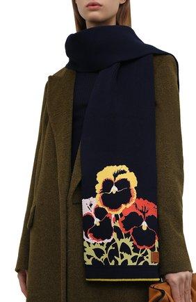 Женский хлопковый шарф LOEWE темно-синего цвета, арт. F811250X03 | Фото 2