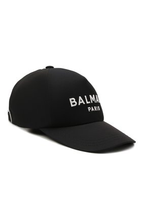 Женская хлопковая бейсболка BALMAIN темно-синего цвета, арт. WH1XA000/C084   Фото 1 (Материал: Хлопок, Текстиль)