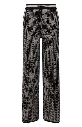 Женские брюки из шерсти и льна BALMAIN черно-белого цвета, арт. WF10B015/K256   Фото 1 (Длина (брюки, джинсы): Удлиненные; Материал внешний: Лен, Шерсть; Женское Кросс-КТ: Брюки-одежда; Силуэт Ж (брюки и джинсы): Широкие; Стили: Кэжуэл; Кросс-КТ: Трикотаж)