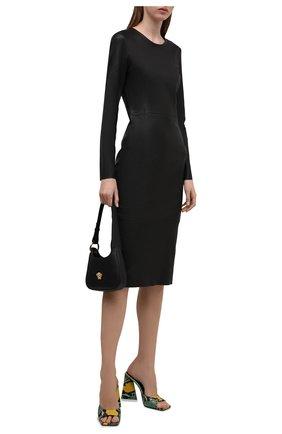 Женское кожаное платье DROME черного цвета, арт. DPDA586VP/D074P   Фото 2