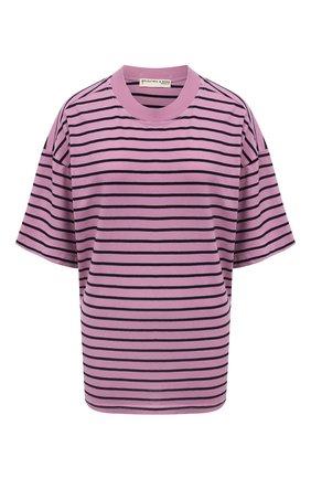 Женская хлопковая футболка ELECTRIC&ROSE сиреневого цвета, арт. LFTP24-STRIPE | Фото 1 (Материал внешний: Хлопок; Рукава: 3/4; Длина (для топов): Стандартные; Стили: Спорт-шик; Принт: С принтом; Женское Кросс-КТ: Футболка-одежда)