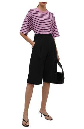 Женская хлопковая футболка ELECTRIC&ROSE сиреневого цвета, арт. LFTP24-STRIPE | Фото 2 (Материал внешний: Хлопок; Рукава: 3/4; Длина (для топов): Стандартные; Стили: Спорт-шик; Принт: С принтом; Женское Кросс-КТ: Футболка-одежда)