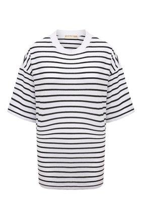 Женская хлопковая футболка ELECTRIC&ROSE белого цвета, арт. LFTP24-STRIPE | Фото 1 (Длина (для топов): Стандартные; Материал внешний: Хлопок; Рукава: 3/4; Стили: Спорт-шик; Женское Кросс-КТ: Футболка-одежда; Принт: С принтом)