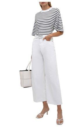 Женская хлопковая футболка ELECTRIC&ROSE белого цвета, арт. LFTP24-STRIPE | Фото 2 (Длина (для топов): Стандартные; Материал внешний: Хлопок; Рукава: 3/4; Стили: Спорт-шик; Женское Кросс-КТ: Футболка-одежда; Принт: С принтом)