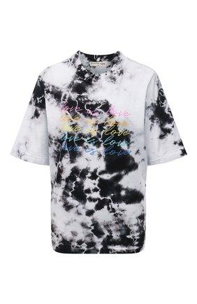 Женская хлопковая футболка ELECTRIC&ROSE черно-белого цвета, арт. LFTP24-L0VE IS L0VE | Фото 1 (Материал внешний: Хлопок; Длина (для топов): Стандартные; Рукава: Короткие; Стили: Спорт-шик; Женское Кросс-КТ: Футболка-одежда; Принт: С принтом)