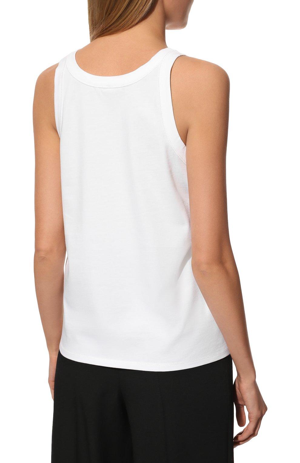 Женский хлопковая майка THE ROW белого цвета, арт. 3984K220   Фото 4 (Женское Кросс-КТ: Майка-одежда; Длина (для топов): Стандартные; Материал внешний: Хлопок; Стили: Минимализм)