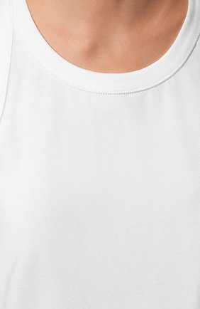 Женский хлопковая майка THE ROW белого цвета, арт. 3984K220   Фото 5 (Женское Кросс-КТ: Майка-одежда; Длина (для топов): Стандартные; Материал внешний: Хлопок; Стили: Минимализм)