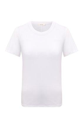 Женская хлопковая футболка THE ROW белого цвета, арт. 852F911 | Фото 1 (Женское Кросс-КТ: Футболка-одежда; Стили: Кэжуэл; Принт: Без принта; Длина (для топов): Стандартные; Рукава: Короткие; Материал внешний: Хлопок)