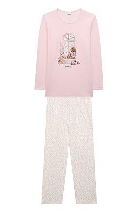 Детская хлопковая пижама LA PERLA светло-розового цвета, арт. 55121/8A-14A   Фото 1