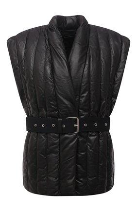 Женский кожаный жилет ISABEL MARANT черного цвета, арт. VE1415-21A002I/AJALI | Фото 1