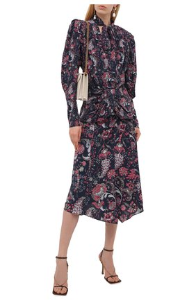 Женская шелковая блузка ISABEL MARANT темно-синего цвета, арт. HT2154-21A021I/BAT0ZIA | Фото 2