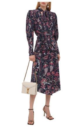 Женская шелковая юбка ISABEL MARANT темно-синего цвета, арт. JU0832-21A021I/CACIA | Фото 2