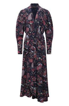 Женское шелковое платье ISABEL MARANT темно-синего цвета, арт. R02038-21A021I/BISMA | Фото 1