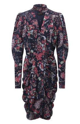 Женское шелковое платье ISABEL MARANT темно-синего цвета, арт. R02039-21A021I/BAT0A | Фото 1