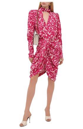 Женское шелковое платье ISABEL MARANT фуксия цвета, арт. R02039-21A021I/BAT0A | Фото 2