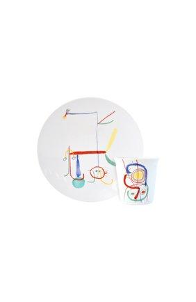 Набор joan miro из тарелки и стакана BERNARDAUD разноцветного цвета, арт. 1890/23362 | Фото 1 (Интерьер Кросс-КТ: посуда детская)
