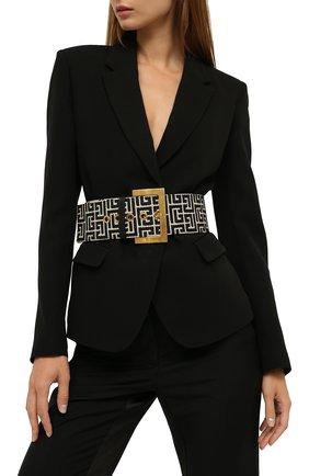 Женский текстильный ремень BALMAIN черно-белого цвета, арт. WN1WC041/TJMA   Фото 2 (Материал: Текстиль, Хлопок)