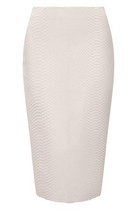 Женская юбка из кожи питона RALPH LAUREN кремвого цвета, арт. 290849866/PBIV | Фото 1 (Длина Ж (юбки, платья, шорты): До колена; Материал подклада: Купро; Женское Кросс-КТ: Юбка-одежда; Стили: Кэжуэл; Материал внешний: Экзотическая кожа)