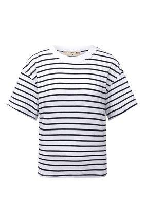 Женская хлопковая футболка ELECTRIC&ROSE белого цвета, арт. LFTP22-STRIPE | Фото 1 (Материал внешний: Хлопок; Рукава: Короткие; Длина (для топов): Стандартные; Стили: Спорт-шик; Женское Кросс-КТ: Футболка-одежда; Принт: С принтом)