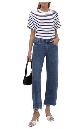 Женская хлопковая футболка ELECTRIC&ROSE белого цвета, арт. LFTP22-STRIPE | Фото 2 (Материал внешний: Хлопок; Рукава: Короткие; Длина (для топов): Стандартные; Стили: Спорт-шик; Женское Кросс-КТ: Футболка-одежда; Принт: С принтом)