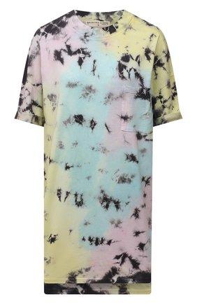Женская хлопковая футболка ELECTRIC&ROSE разноцветного цвета, арт. LFJP05-ATLANTIS | Фото 1 (Рукава: Короткие; Материал внешний: Хлопок; Стили: Спорт-шик; Длина (для топов): Удлиненные; Принт: С принтом; Женское Кросс-КТ: Футболка-одежда)