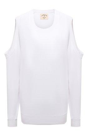 Женский хлопковый свитшот ELECTRIC&ROSE белого цвета, арт. LFCV50 | Фото 1 (Рукава: Длинные; Материал внешний: Хлопок; Длина (для топов): Стандартные; Женское Кросс-КТ: Свитшот-одежда; Стили: Спорт-шик)